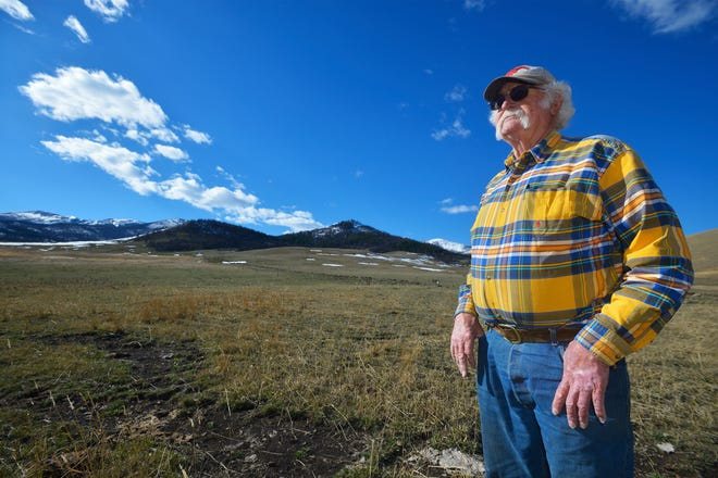 Mac White stands on his land at the McFarland White Ranch, which shares a border with national forest land.  Several sections that belong to him are surrounded on all sides by public lands. He is trying to gain motorized access to these sections.