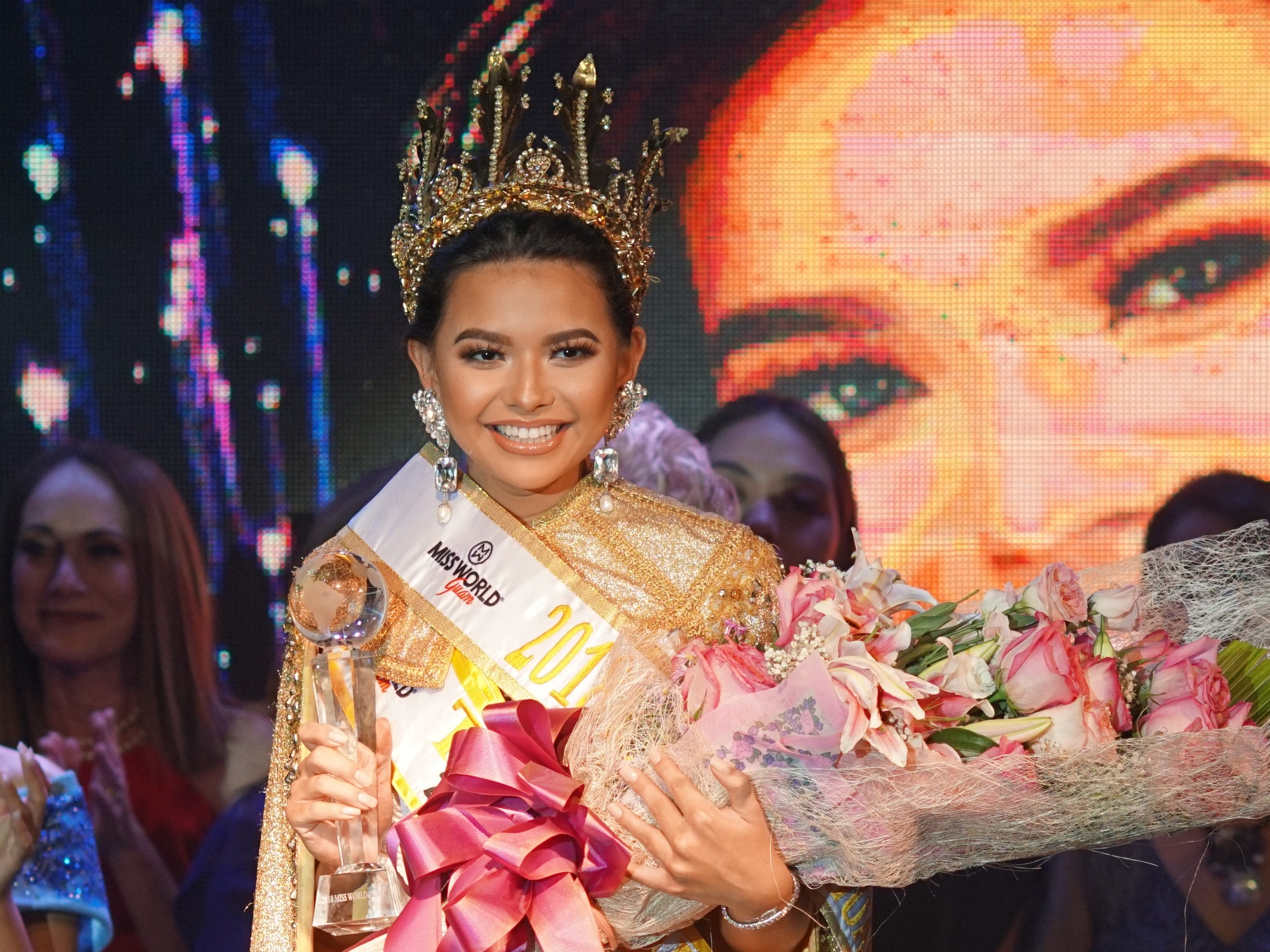 Gianna Camacho Sgambelluri, 18, of Barrigada, as 2018 Miss World Guam pageant winner.  The event was held at   Sheraton Laguna Guam Resort.