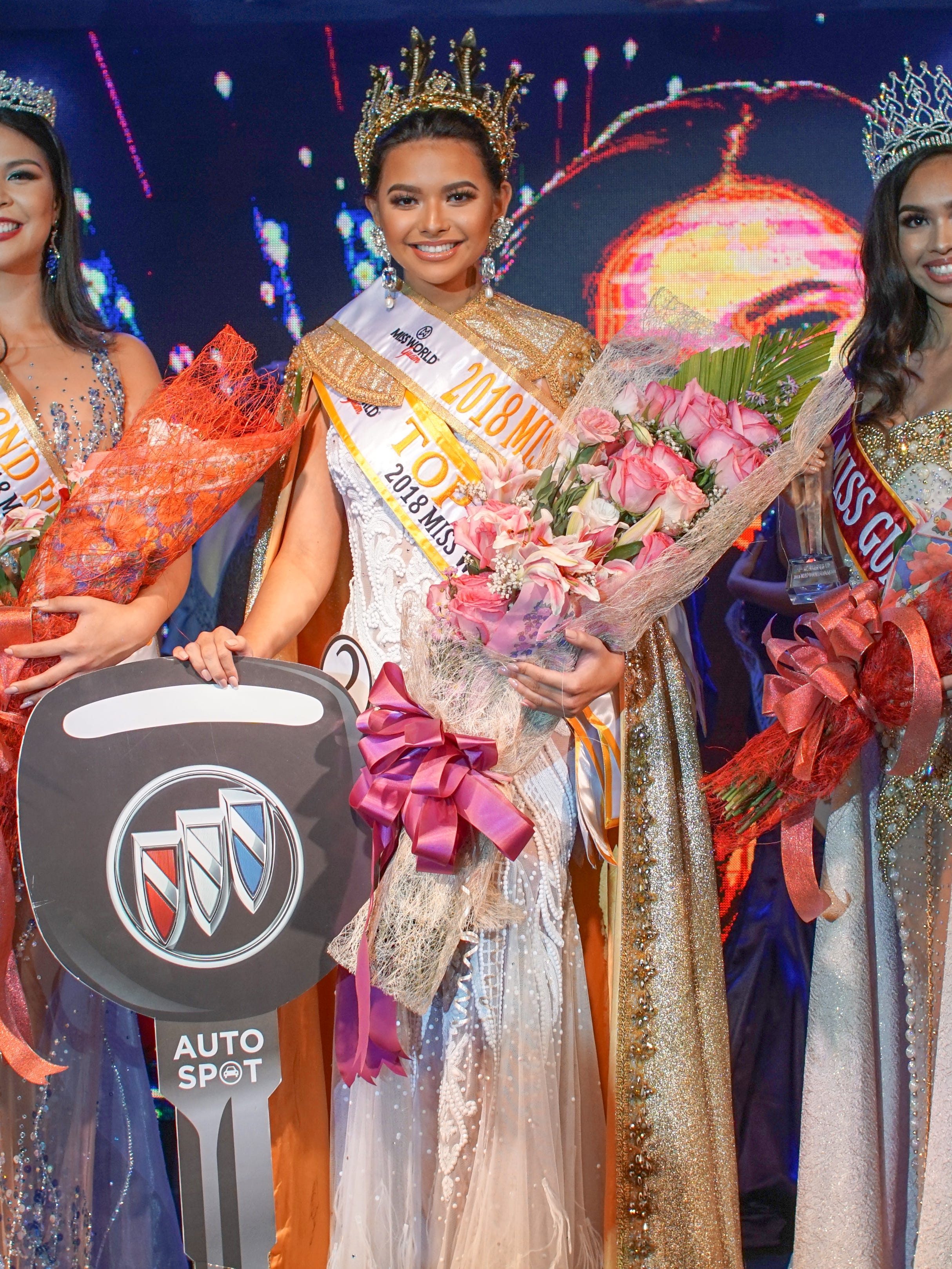 From left: Second runner up Mariana Quintanilla Kier, 18, of Sinajana; Miss World Guam 2018 Gianna Camacho Sgambelluri, 18, of Barrigada; Miss Asia Pacific International Cyndal Abad, 18, of Dededo. Miss World Guam 2018 was held at the Sheratong Laguna Guam Resort Oct. 15, 2018.