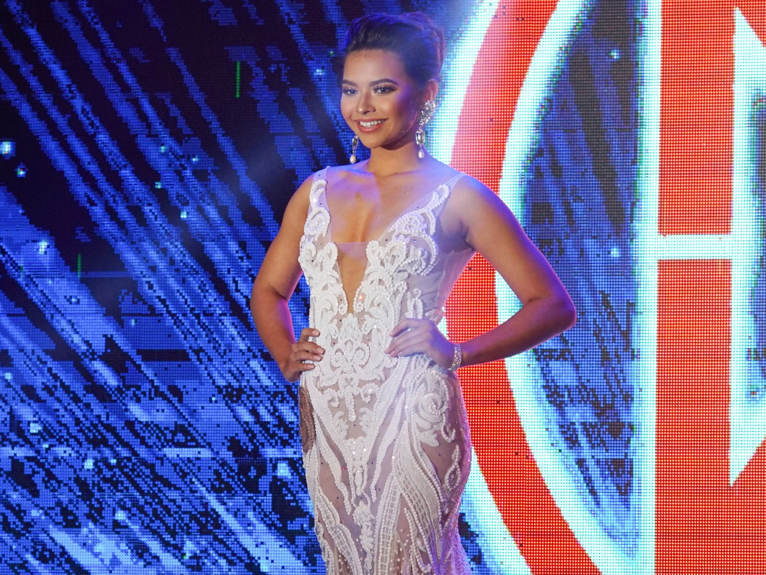 Contestant #2 Gianna Camacho Sgambelluri, 18, from Barrigada, wearing  her evening gown during the Miss World Guam Pageant which was held at Sheraton Laguna Guam Resort.