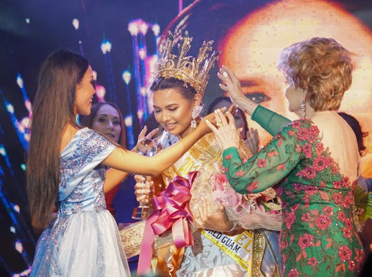 Outgoing Queen, Destiny Cruz and  Madeleine Bordallo crown Contestant #2, Gianna Camacho Sgambelluri, 18, of Barrigada, as 2018 Miss World Guam winner. The Pageant was held at   Sheraton Laguna Guam Resort.