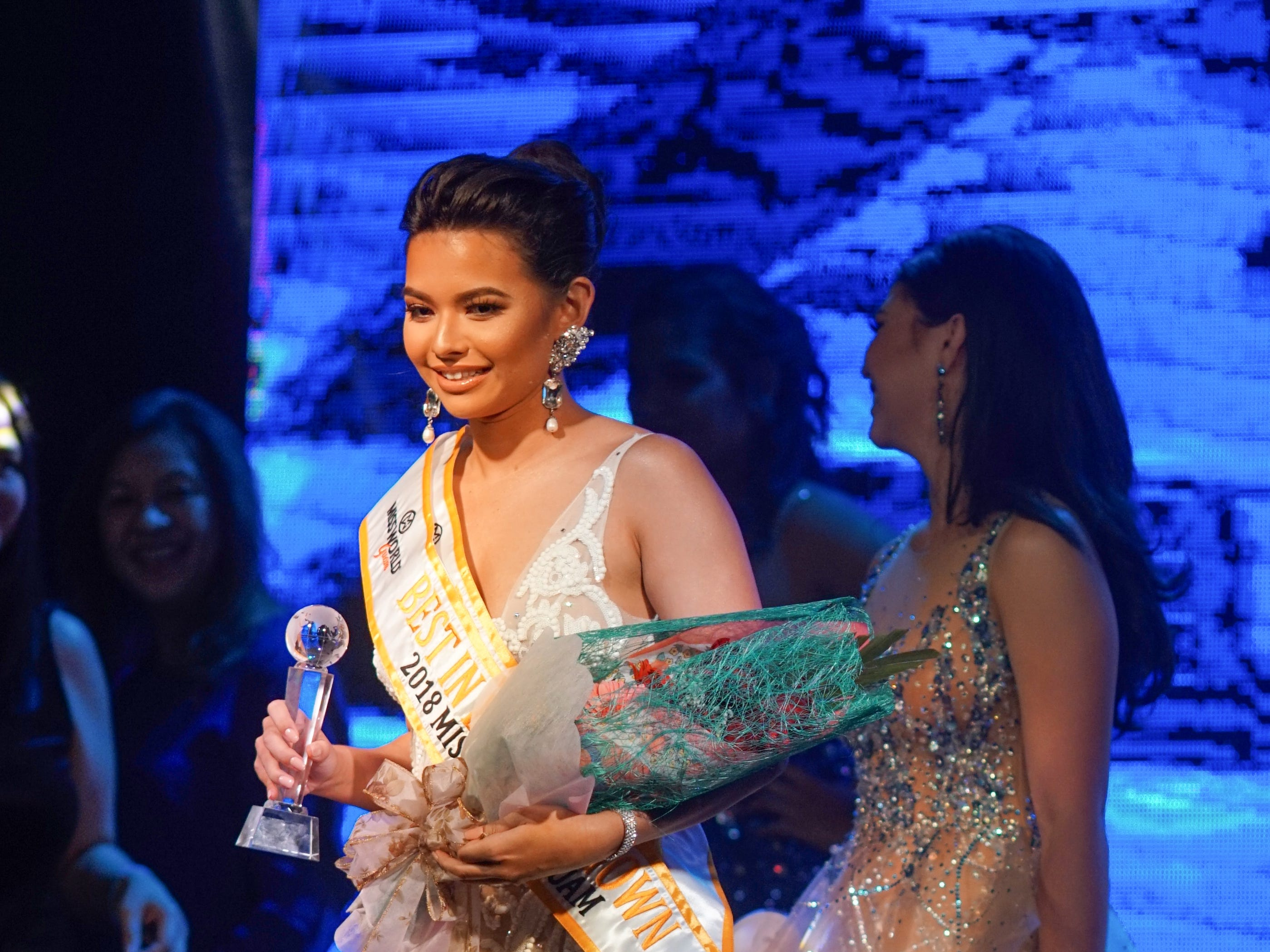 Contestant #2 Gianna Camacho Sgambelluri, 18, from Barrigada, wins Best In Evening Gowncategory at the  2018 Miss World Guam pageant held at Sheraton Laguna Guam Resort.
