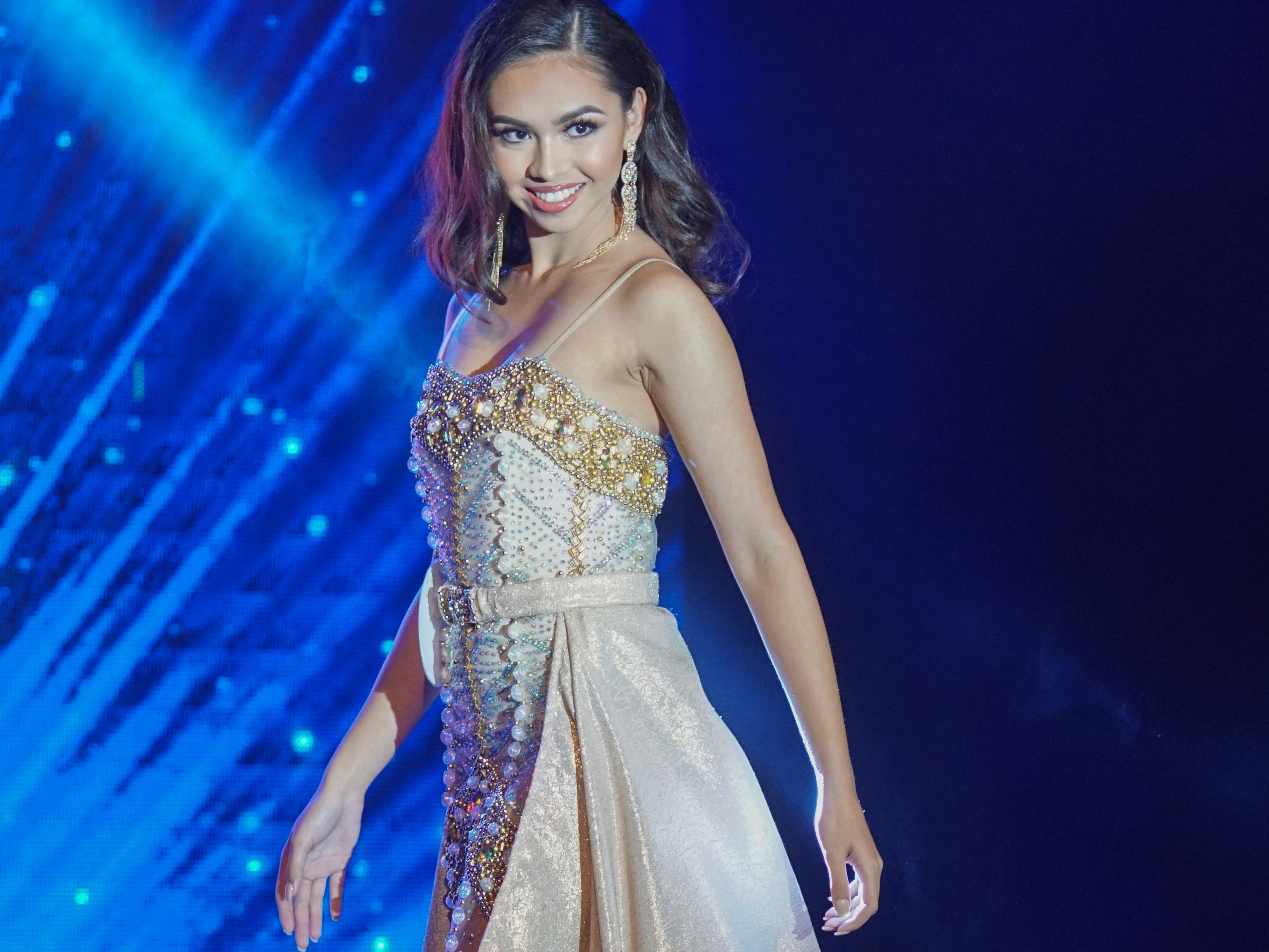Cyndal Abad, 18, from Dededo, contestant #5 in her evening gown during the Miss World Guam pageant held at Sheraton Laguna Guam Resort.