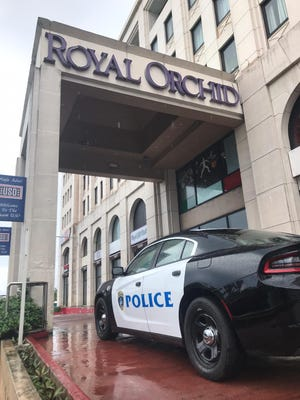 Police responded to the Royal Orchid Hotel in Tumon Monday morning after a female pedestrian reported falling victim in a purse snatching.