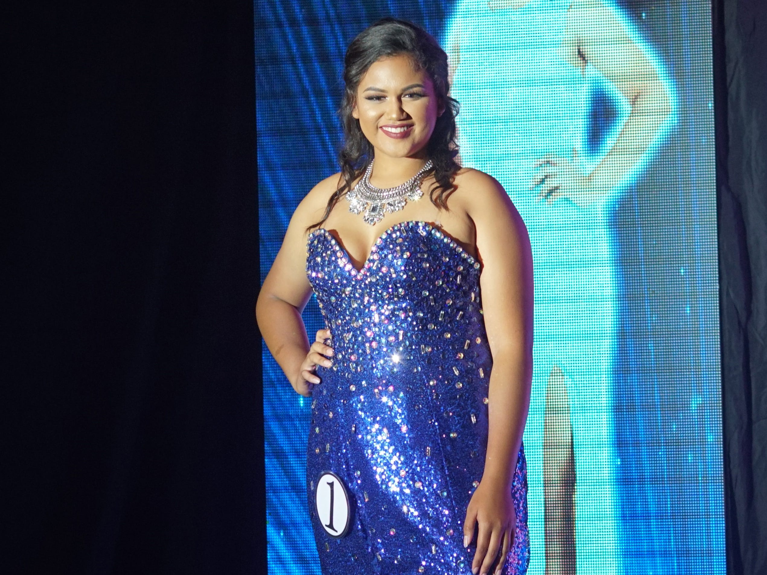 Contestant #1, Joleen Rankin, 18, from Sinajana, wearing  her evening gown during the Miss World Guam Pageant which was held at Sheraton Laguna Guam Resort.