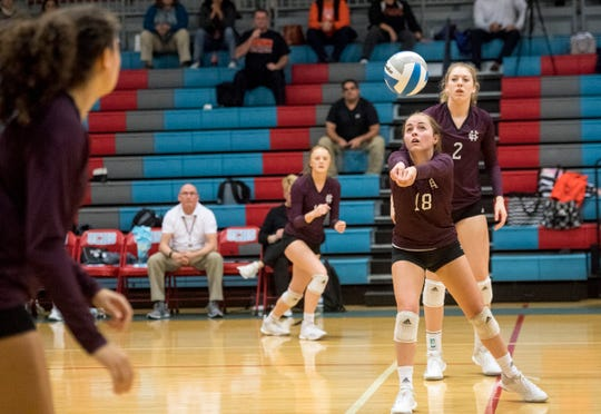 Henderson's Alyssa Butler (18) sets the ball during the Second Region Tournament game against the Hopkinsville Lady Tigers in Morganfield Tuesday, Oct. 16, 2018. Henderson County beat Hopkinsville, 3-1.