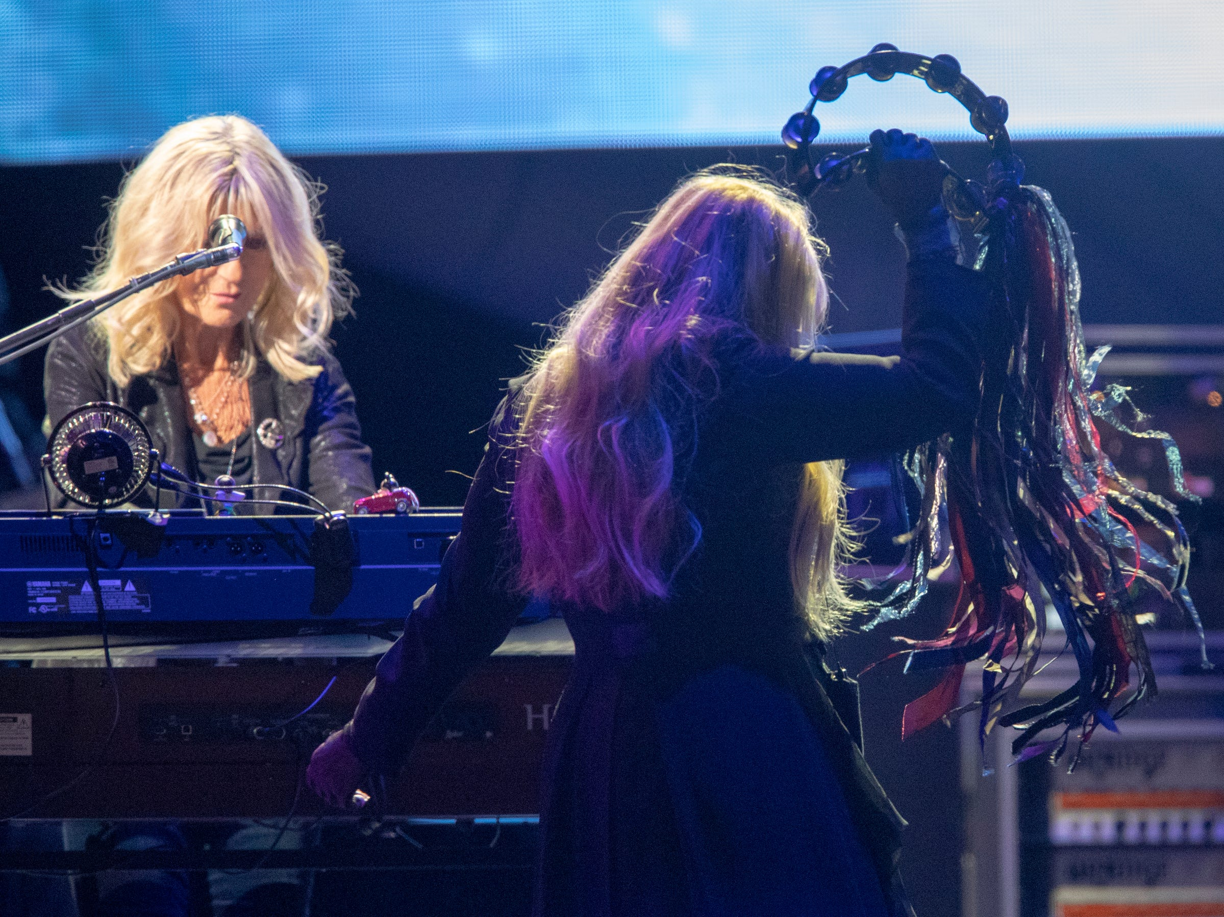 Christine McVie (left), and Stevie Nicks, during a performance by Fleetwood Mac at Bankers Life Fieldhouse, Indianapolis, Tuesday, Oct. 16, 2018. The band is playing on their current North American tour.