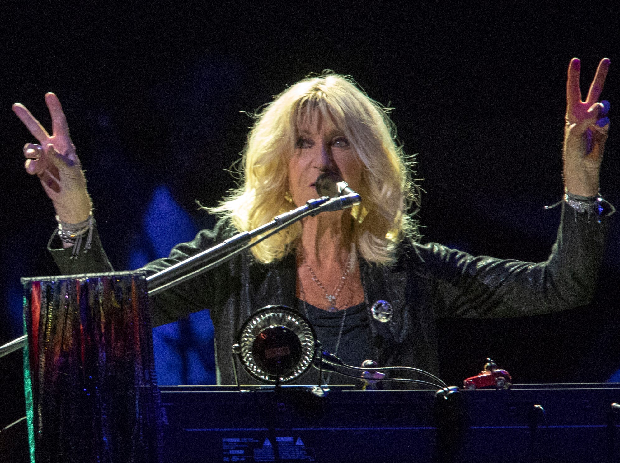 Christine McVie, during a performance by Fleetwood Mac at Bankers Life Fieldhouse, Indianapolis, Tuesday, Oct. 16, 2018. The band is playing on their current North American tour.