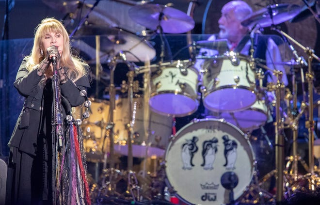 Stevie Nicks, during a performance by Fleetwood Mac at Bankers Life Fieldhouse, Indianapolis, Tuesday, Oct. 16, 2018. Fleetwood Mac is among the bands whose albums are now part of a new vinyl record collection at the Knox County Public Library's Lawson McGhee LIbrary.