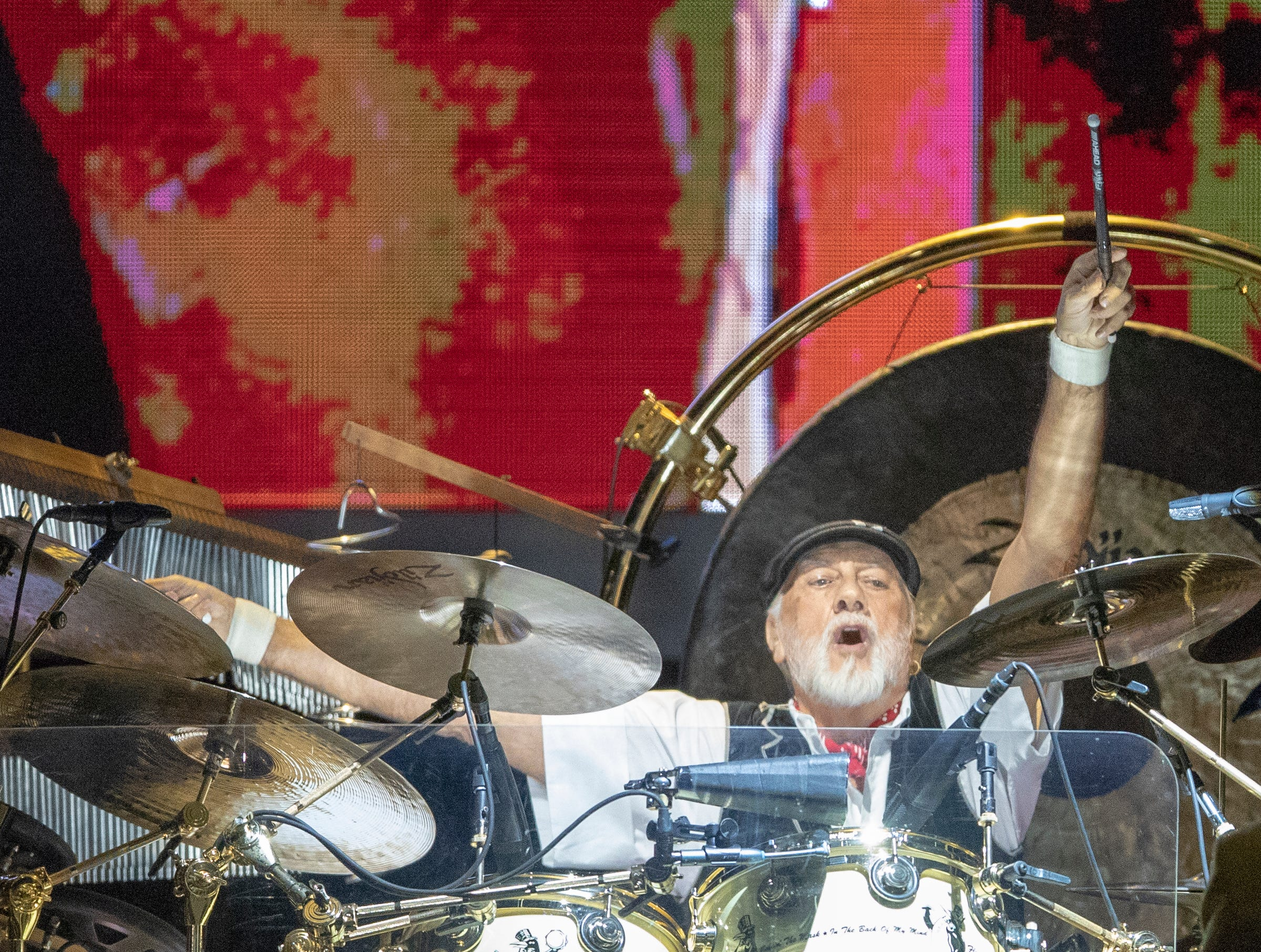 Mick Fleetwood plays drums during a performance by Fleetwood Mac at Bankers Life Fieldhouse, Indianapolis, Tuesday, Oct. 16, 2018. The band is playing on their current North American tour.