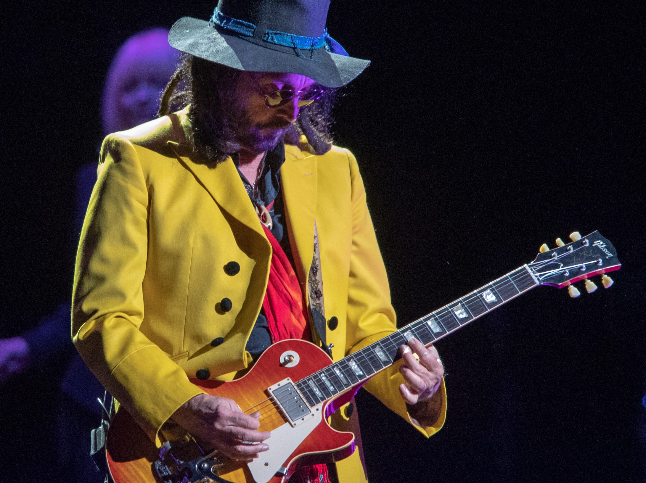 Mike Campbell, during a performance by Fleetwood Mac at Bankers Life Fieldhouse, Indianapolis, Tuesday, Oct. 16, 2018. The band is playing on their current North American tour.