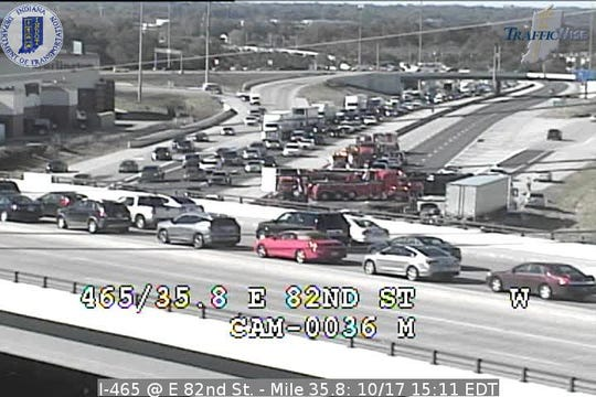A semi overturned Wednesday afternoon, INDOT said, closing I-465 westbound.