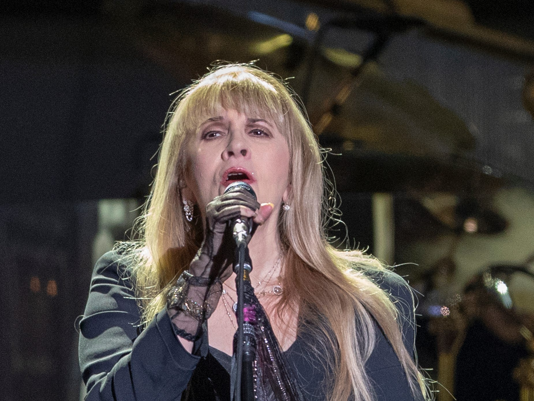 Stevie Nicks, during a performance by Fleetwood Mac at Bankers Life Fieldhouse, Indianapolis, Tuesday, Oct. 16, 2018. The band is playing on their current North American tour.