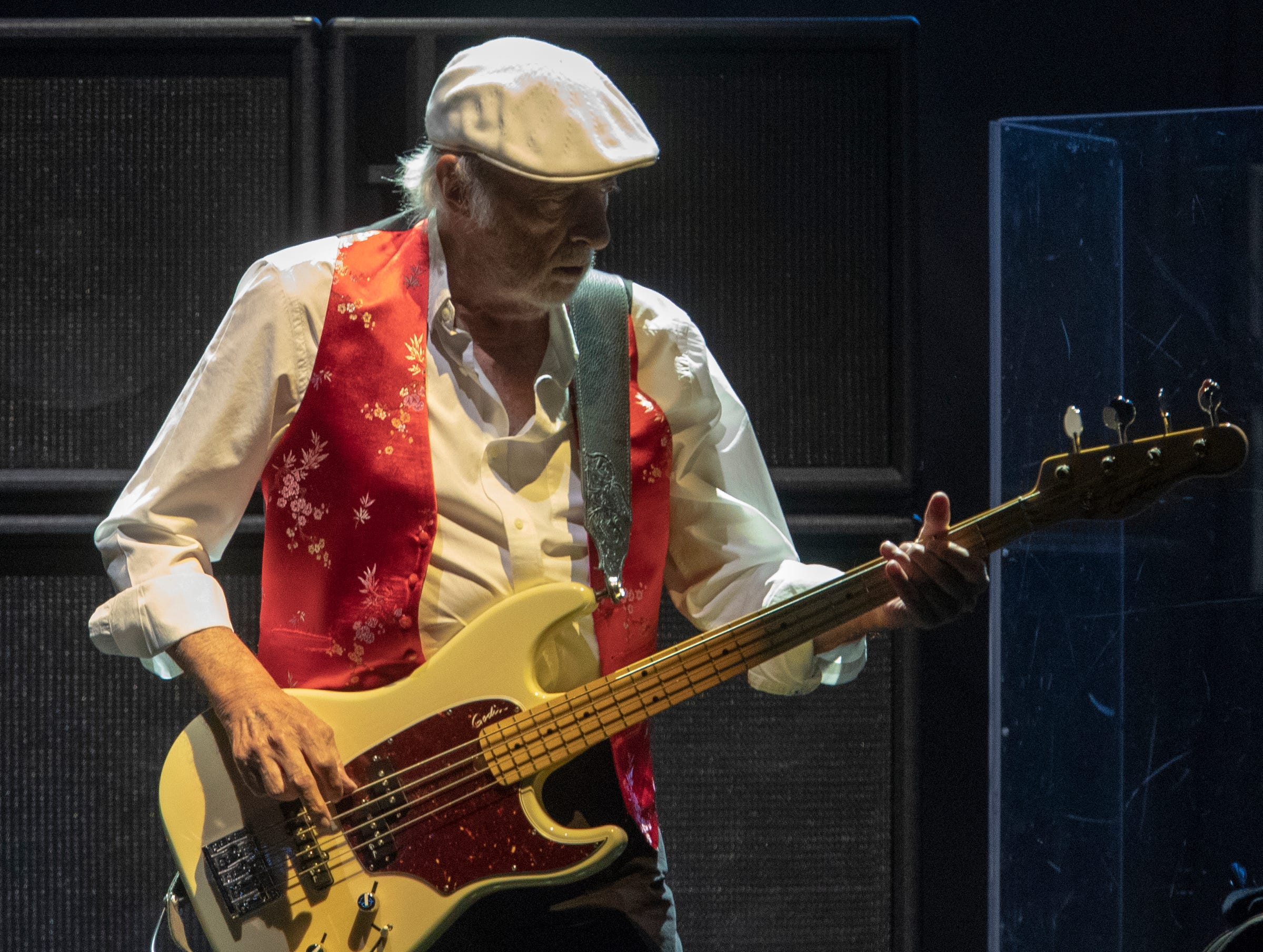 John McVie, during a performance by Fleetwood Mac at Bankers Life Fieldhouse, Indianapolis, Tuesday, Oct. 16, 2018. The band is playing on their current North American tour.