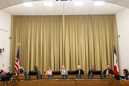City Councilors Mazahir Salih, Bruce Teague, Pauline Taylor, Jim Throgmorton, Susan Mims, John Thomas and Rockne Cole during a council meeting on Tuesday, Oct. 16, 2018, at City Hall in Iowa City.