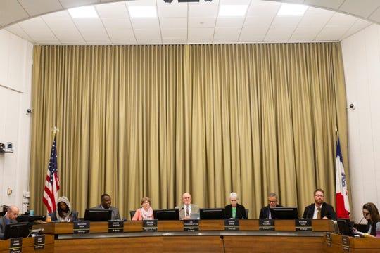 City Councilors Mazahir Salih, Bruce Teague, Pauline Taylor, Jim Throgmorton, Susan Mims, John Thomas and Rockne Cole during a council meeting on Tuesday, Oct. 16, 2018, at City Hall in Iowa City.
