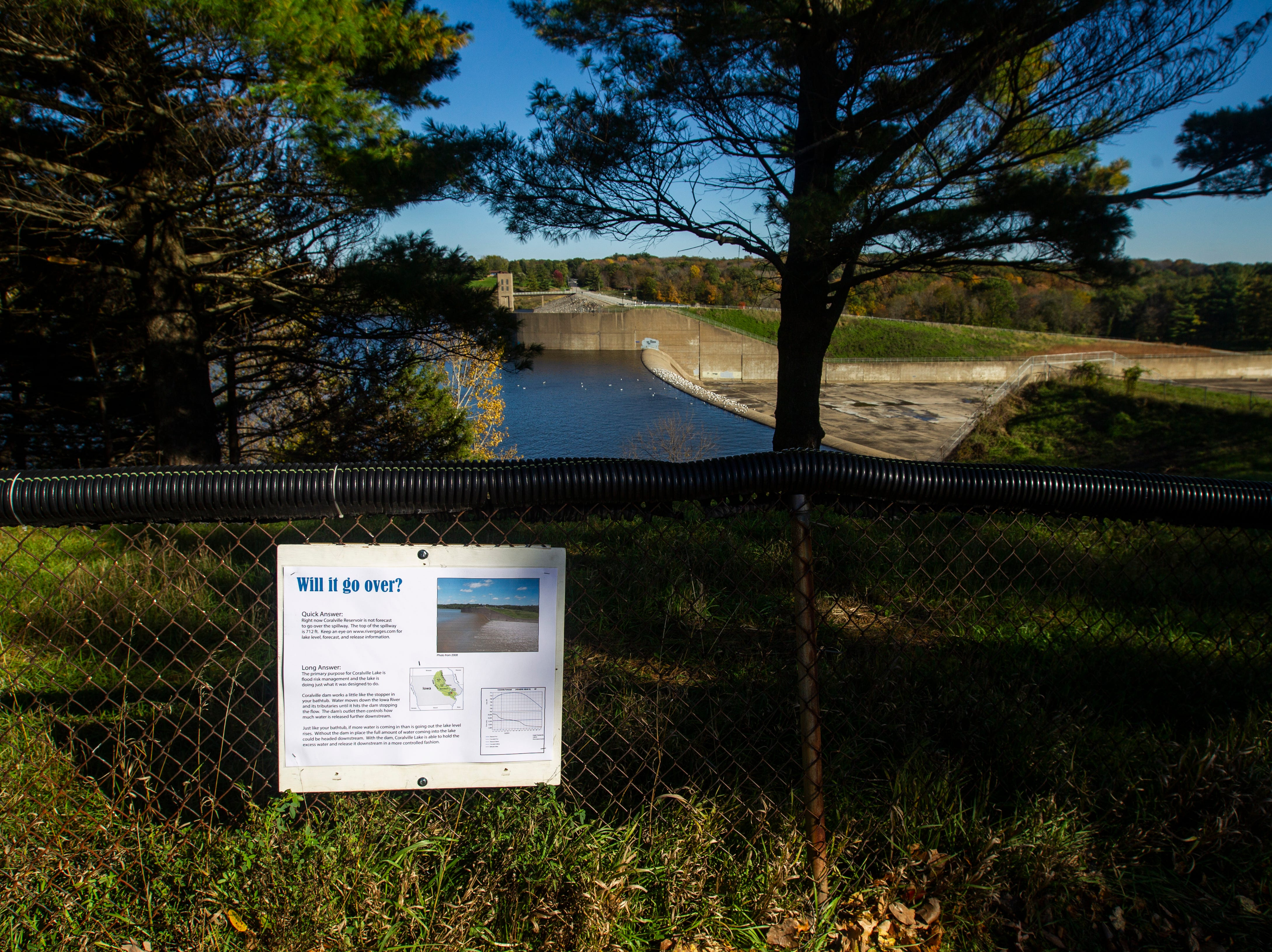 Water raises out past the beach towards the emergency spillway on Monday, Oct. 15, 2018, at the Coralville Lake dam.