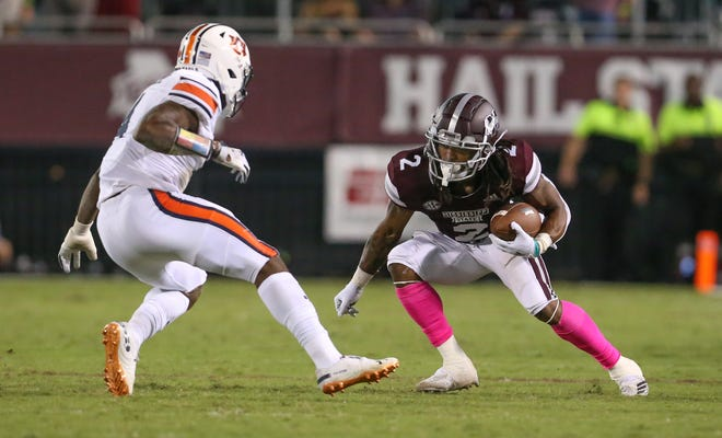 Mississippi State's Deddrick Thomas (2) picks up extra yards after making a catch. The MSU wide receivers have been scrutinized at times this year. Photo by Keith Warren/Madatory Photo Credit