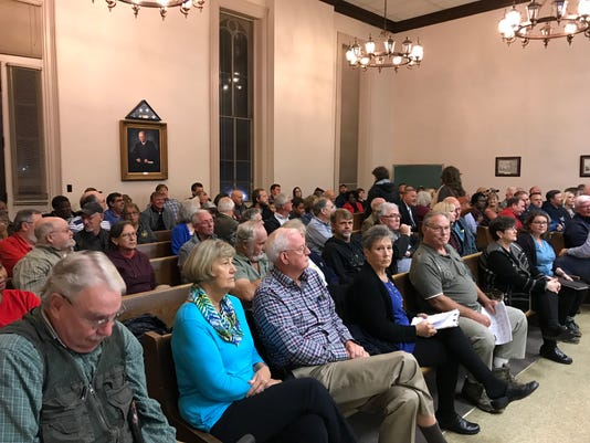 Crowd at Hardeman County Commission meeting.