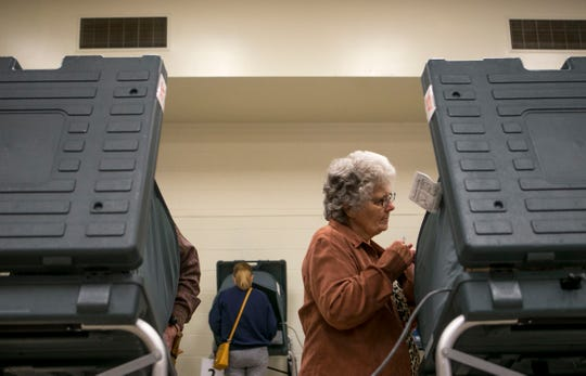 Residents cast ballots on the first day of early voting at Madison County Agricultural Complex in Jackson, Tenn., on Wednesday, Oct. 17, 2018.