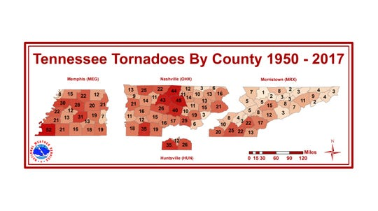 Tornadoes in Tennessee by county from 1950 to 2017.