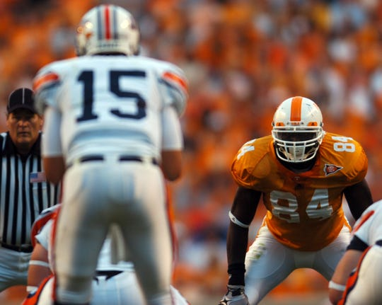 Tennessee defensive end Chris Walker watches UT Martin quarterback Derek Carr on Sept. 4, 2010, at Neyland Stadium.