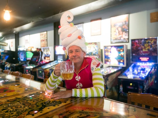 "Actor David Brian Alley is dressed as Crumpet the Elf, a character in David Sedaris' ""Santaland Diaries"" at Harrogate's Lounge."