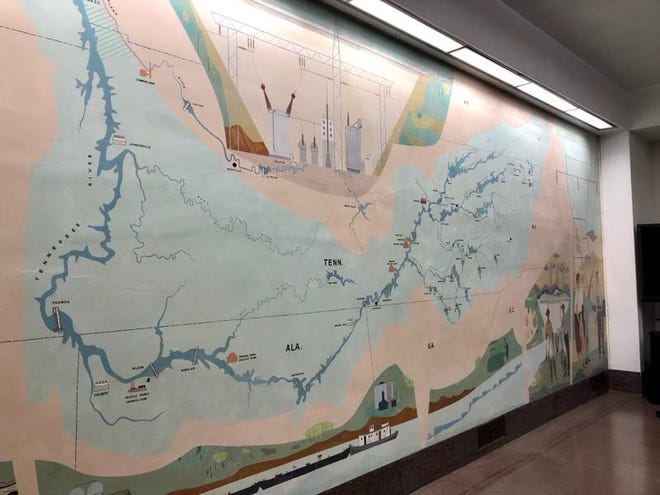 A mural painted by Knoxville artist Robert Birdwell has been restored at Norris Dam.