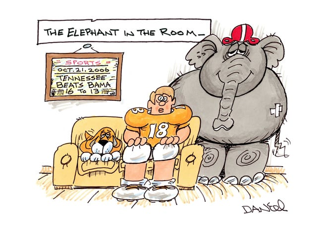 Charlie Daniel's Voltoon for the 2018 Alabama-Tennessee game.