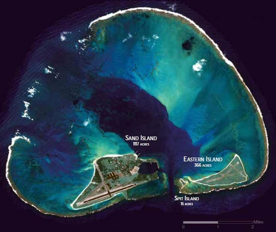 A satellite image of Midway Atoll