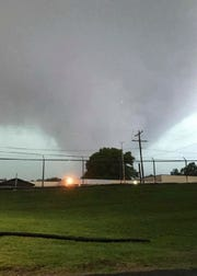 FILE - This April 30, 2017, file photo, provided by the Warren County Emergency Management Agency shows what looks like a tornado that approached Vicksburg, Miss. A new study finds that tornado activity is generally shifting eastward to areas just east of the Mississippi River that are more vulnerable such as Mississippi, Arkansas and Tennessee. And it's going down in Oklahoma, Kansas and Texas. (Jerry Briggs/Warren County Fire Department via Warren County EMA via AP, File)