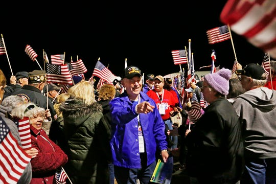 Harry Salts is greeted as the final Honor Flight arrives Tuesday, October 16, 2018, at Purdue Airport. Salts, who is from Attica, is an Army veteran of the Vietnam War.