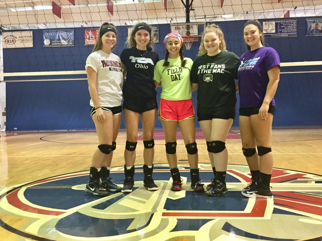 Fairfield Christian Academy volleyball seniors from left to right: Katie Zufall, Blaire Barr, Celeste Mershimer, Emily Miller and Sophia Digiannantoni. The Knights enter the tournament with a 21-1 record, which includes 21 consecutive wins.