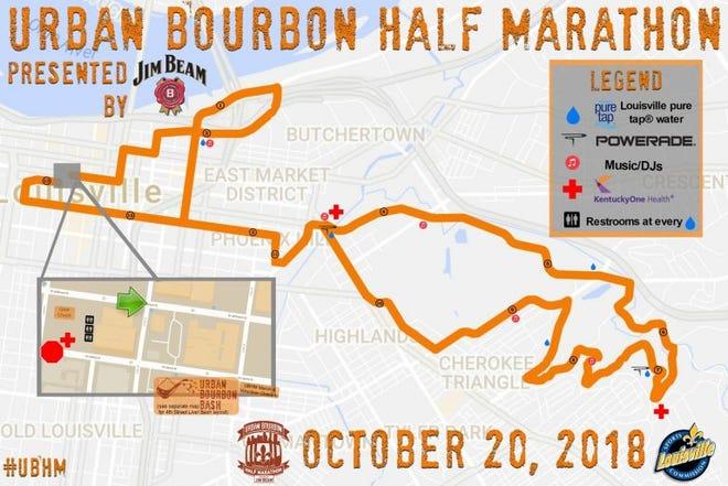 Urban Bourbon Half Marathon Race Map