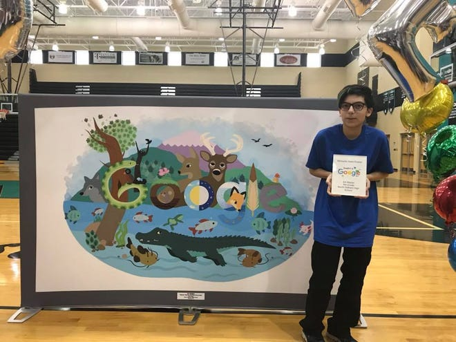 North Oldham High School freshman Em Mejias represented the Commonwealth of Kentucky in the National Google Doodle contest.