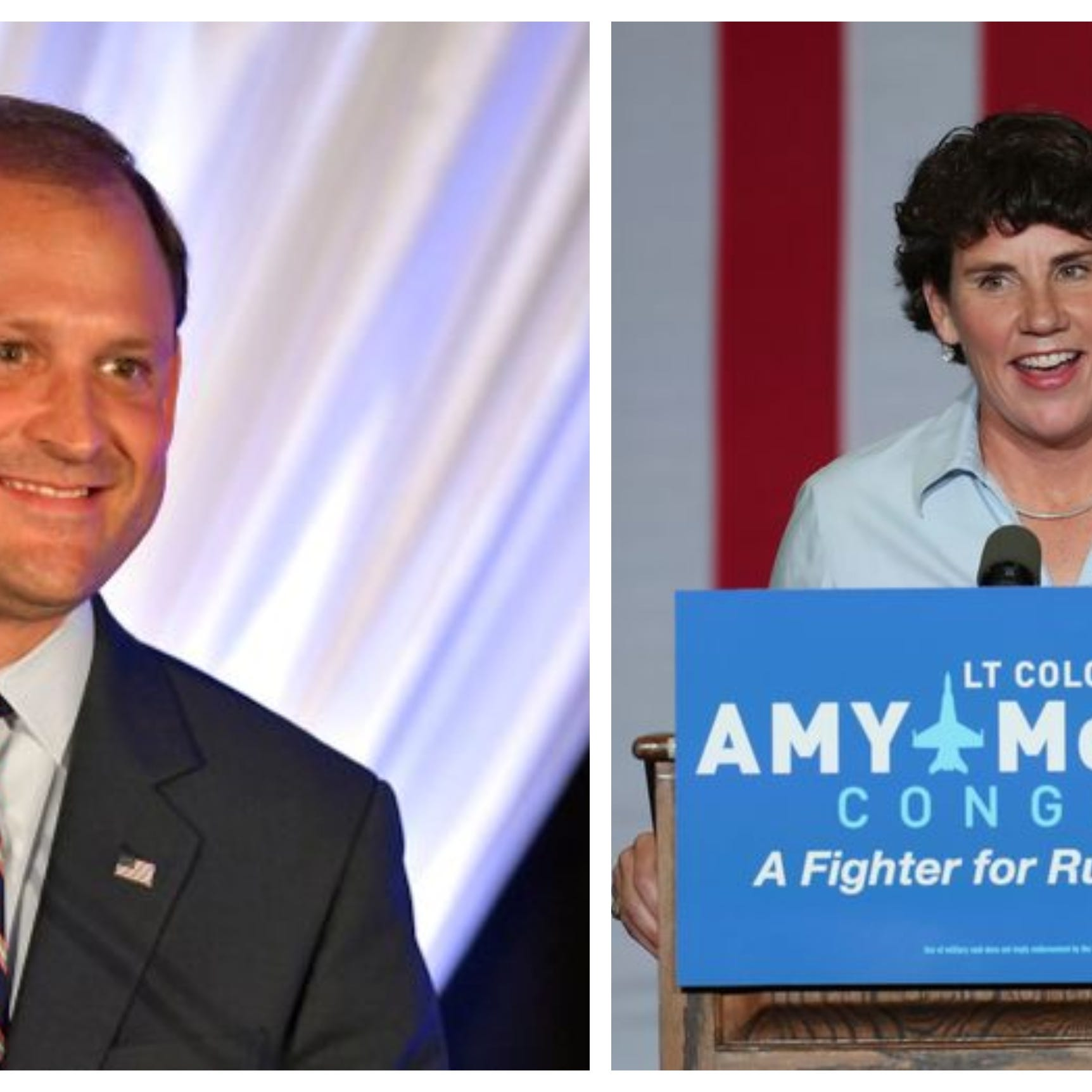 Andy Barr, left, and Amy McGrath