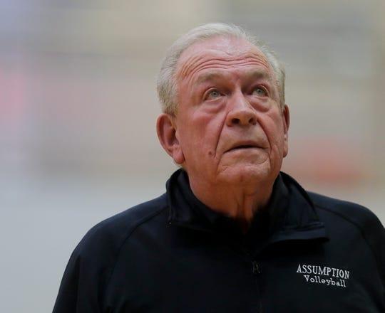 Assumption's coach Ron Kordes. Oct. 16, 2018