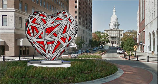 "One of four finalists, the ""Low-Poly Open Heart"" is designed by artist m.l. duffy. The sculpture contest was put on hold Dec. 13, 2018."