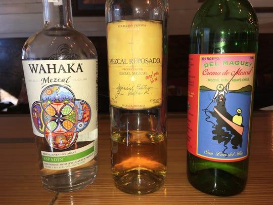 Three different varieties of Mezcal.