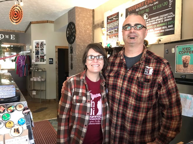 Megen and Brent Hurst in their chocolate shop on Oct. 16. The couple has created more than 180 flavors of chocolate together.