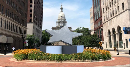 "One of the finalists, ""Star Born"" was designed by Lansing locals, David Such and Fred Hammond.  The sculpture selection for the downtown roundabout has been put on hold, officials announced Dec. 13, 2018."