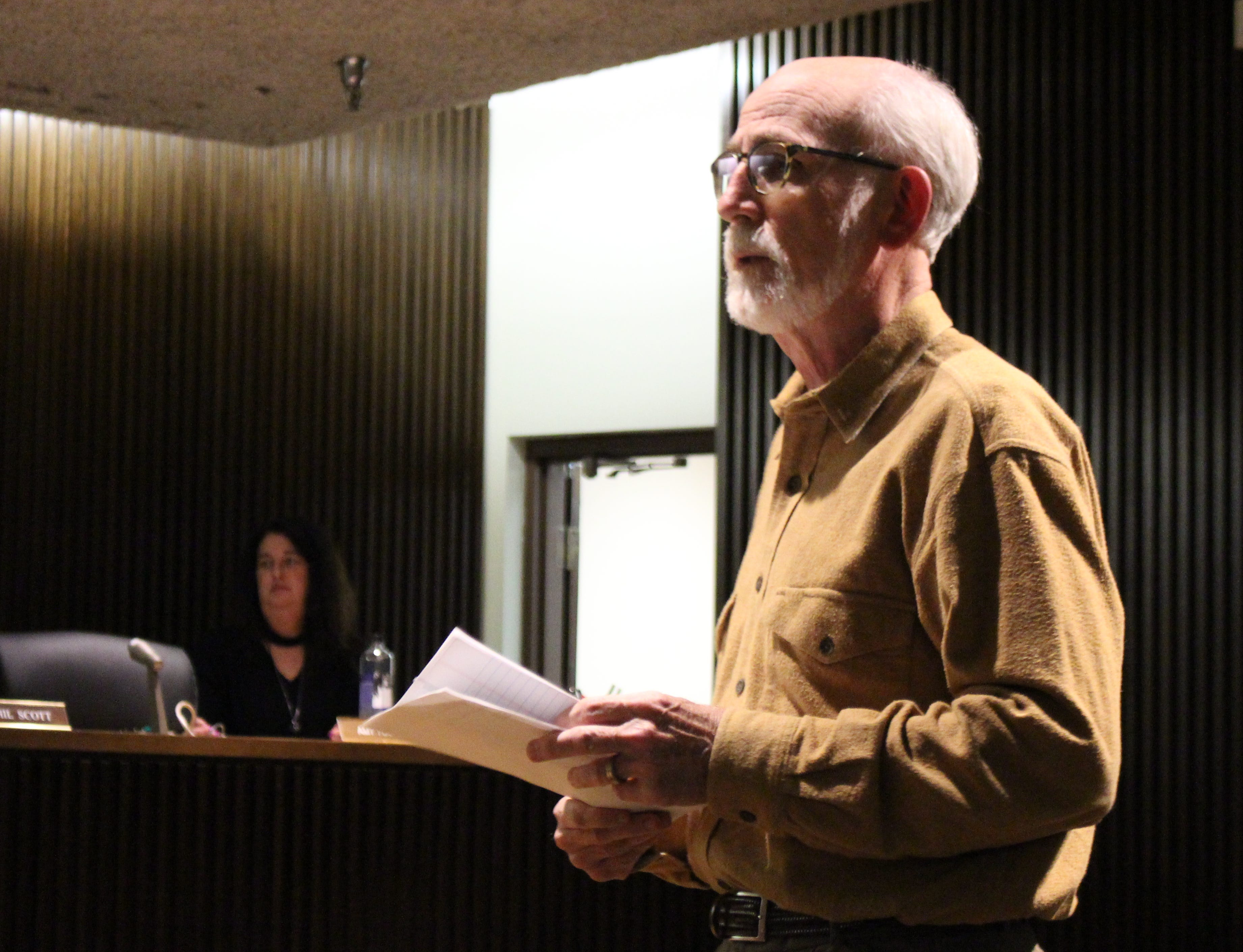Mansfield human resources director Dave Remy speaks with Mansfield City Council at an October meeting.