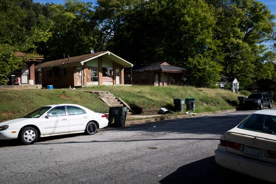 Homes are seen along West McKellar in South Memphis, in the area of McKinney Wright Jr.'s last reported address.