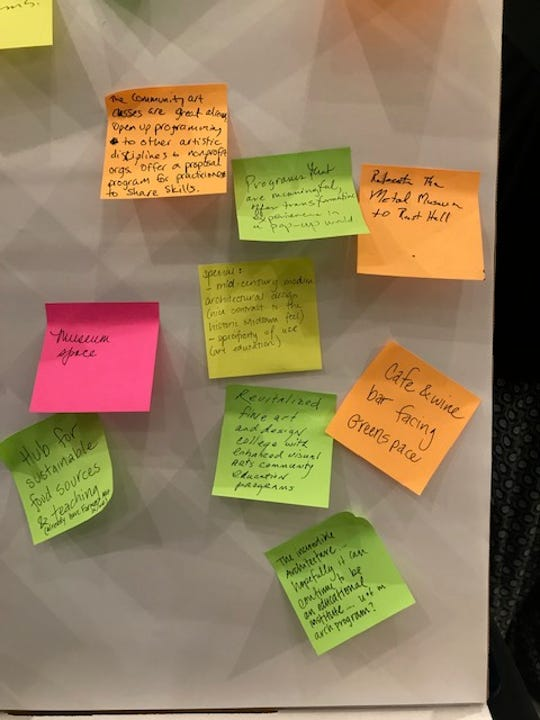 Sticky notes with ideas for the future of the Memphis College of Art's Rust Hall and the Brooks Museum of Art in Overton Park are seen at a public forum Tuesday, Oct. 16.