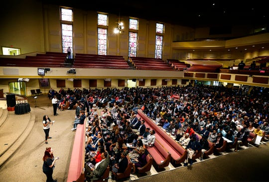 Area students and teachers begin filling the pews at Mississippi Boulevard Christian Church for the National Civil Rights Museum's Freedom Award annual Student Forum on Wednesday morning.