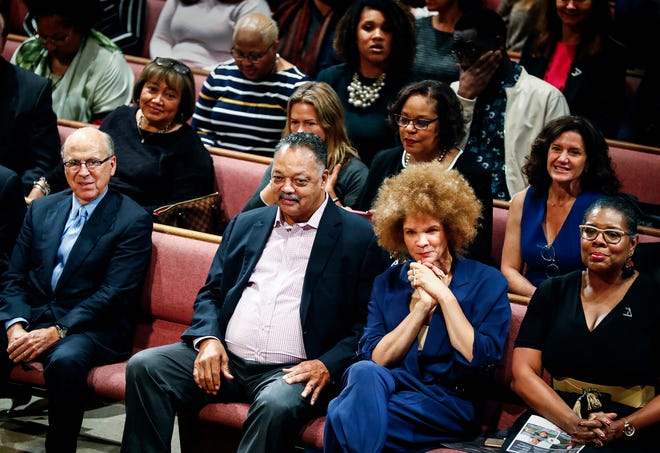 "National Civil Rights Museum's Freedom Award honorees J.R. ""Pitt"" Hyde (far left) and Rev. Jesse Jackson (second left) seated with writer Michaela Angela Davis (second right) and National Civil Rights Museum President Terri Lee Freeman (far right) attend the annual Student Forum at Mississippi Boulevard Christian Church Wednesday morning."