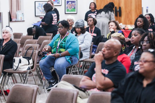 October 16 2018 - People listen as Shelby County Schools Superintendent Dorsey Hopson speaks during a rally held by the United Education Association at the Shelby County Schools headquarters on Tuesday.