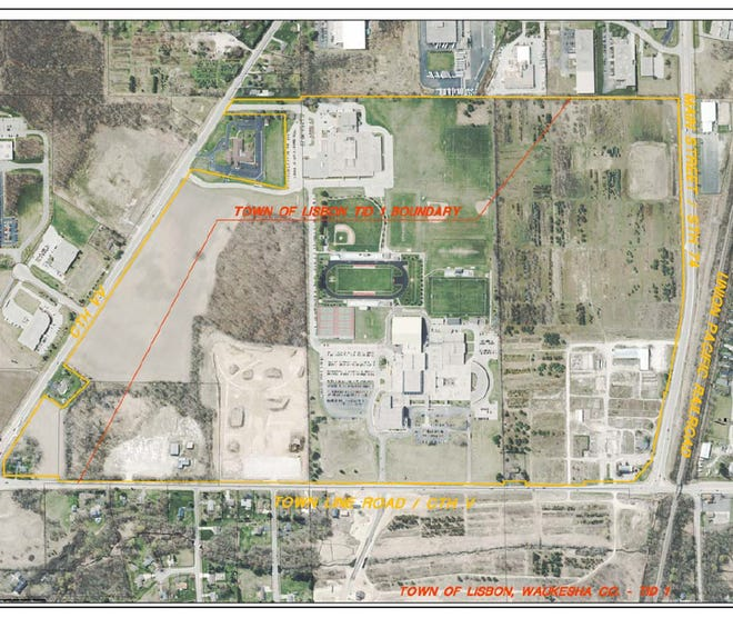 The new tax incremental financing district is outlined in red; it will cover the area that formerly housed Lied's Nursery on Main Street near Town Line Road and Highway 74.