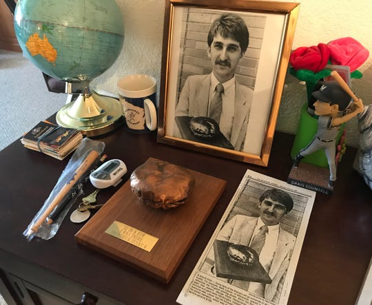 Mark Leaver Sr. has a shrine to the Brewers in his Sheboygan home featuring a hamburger given out by George Webb in 1987 after the team won 12 games in a row. His son Mark Leaver Jr. bronzed the burger as a Father's Day gift and his photo appeared in The Milwaukee Journal.