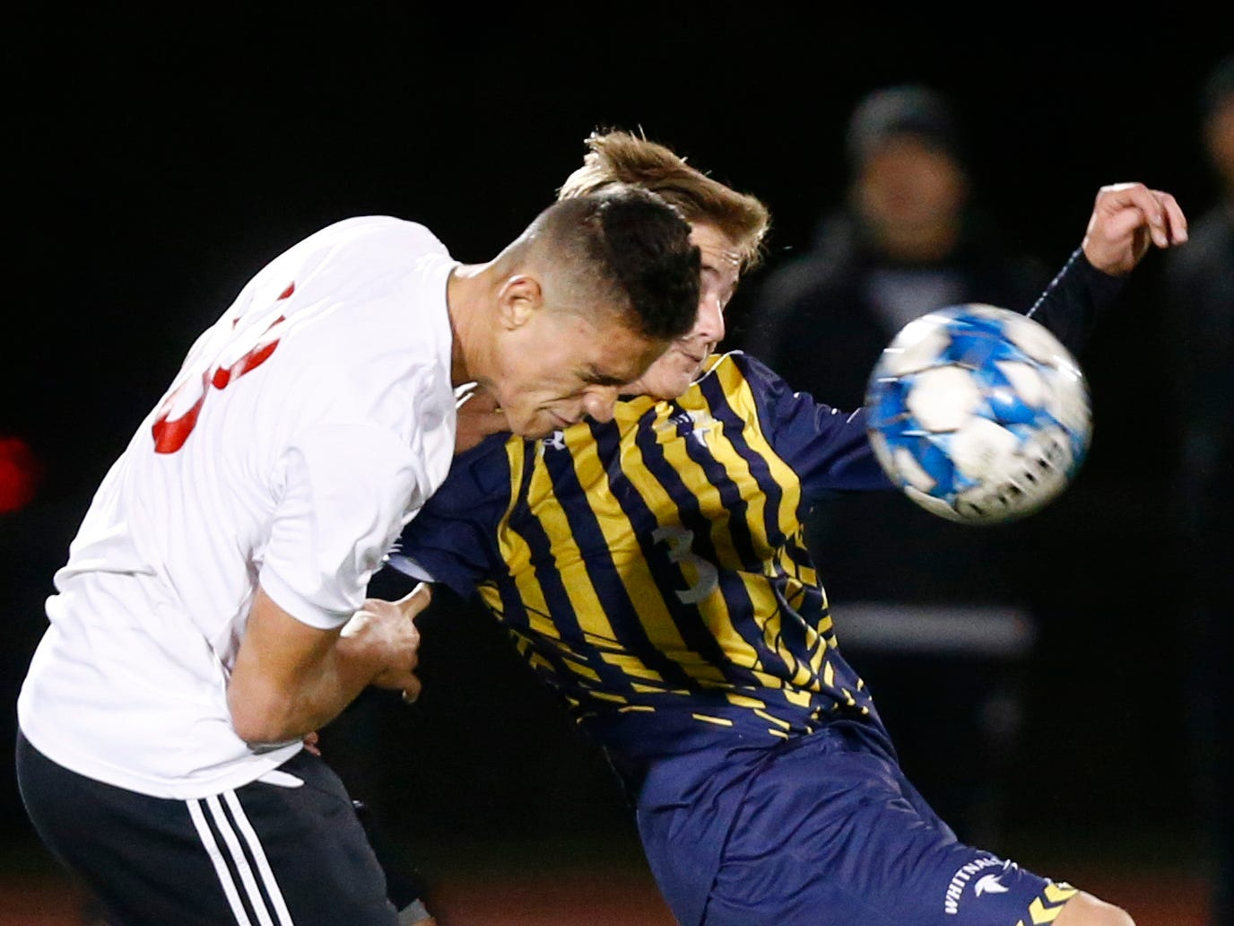 South Milwaukee's Sergio Vega and Whitnall's Kaden Norby battle for the ball during WIAA semi-regional play at Whitnall on Oct. 16.